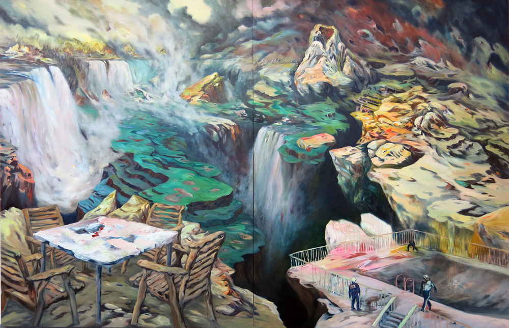 """Patio"" Oil on canvas, 9 ft. X 14 ft (diptych total size), 2012                     Normal   0           false   false   false     EN-US   JA   X-NONE                                                                                                                                                                                                                                                                                                                                                                              /* Style Definitions */ table.MsoNormalTable 	{mso-style-name:""Table Normal""; 	mso-tstyle-rowband-size:0; 	mso-tstyle-colband-size:0; 	mso-style-noshow:yes; 	mso-style-priority:99; 	mso-style-parent:""""; 	mso-padding-alt:0cm 5.4pt 0cm 5.4pt; 	mso-para-margin:0cm; 	mso-para-margin-bottom:.0001pt; 	mso-pagination:widow-orphan; 	font-size:10.0pt; 	font-family:""Times New Roman""; 	mso-fareast-language:JA;}"
