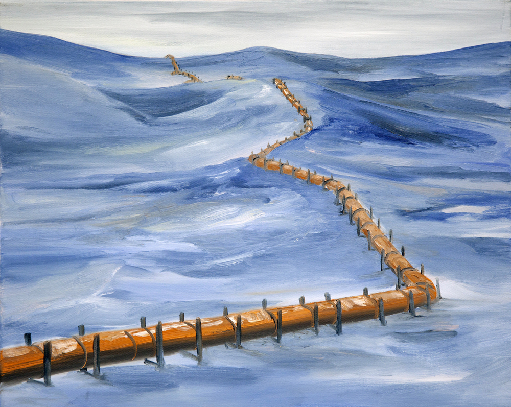 """Untitled (Pipeline no. 1)"" Oil on canvas, 16"" x 20"", 2012"