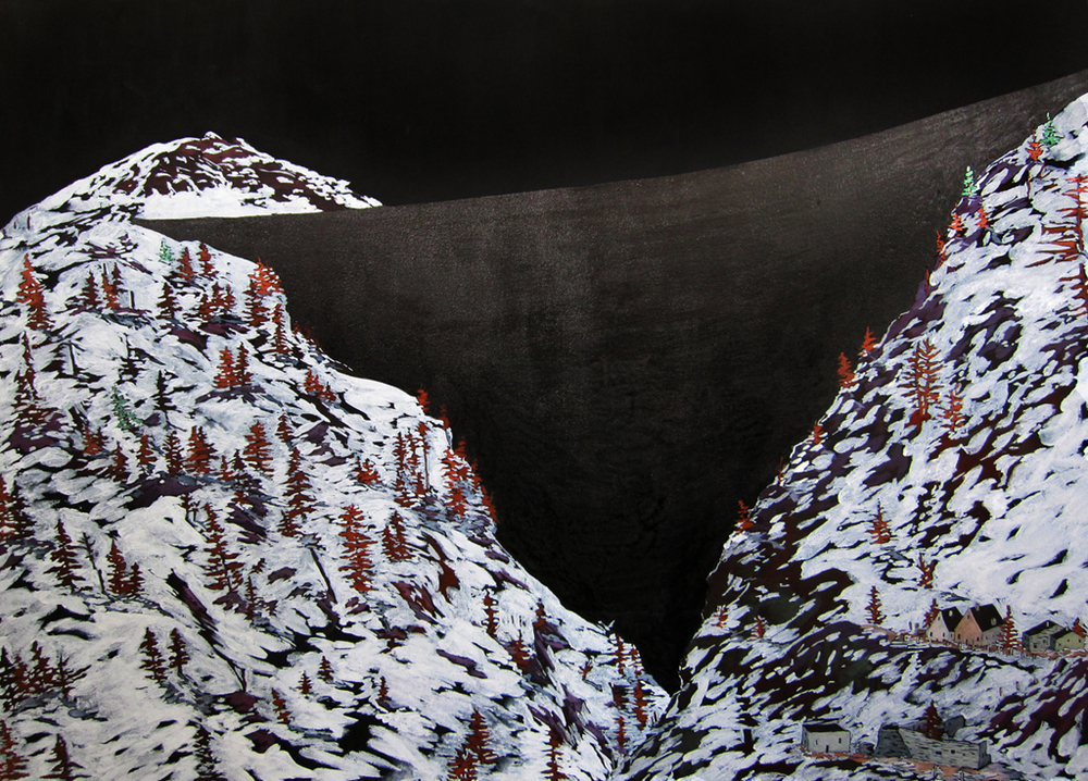 """Alpine Dam"" Acrylic and ink on canvas, 32"" x 48"", 2010  Photo by Rachel Granofsky"