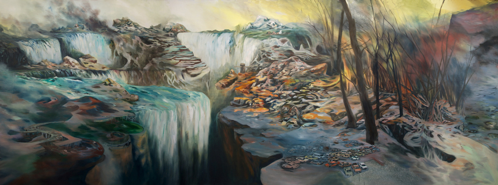 """Observation Area"" Oil on canvas, 8 ft. x 20 ft. 2012"