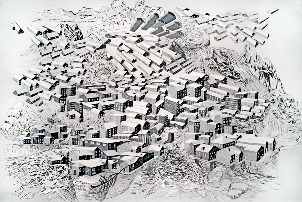 Flying Houses  Ink on vellum. 24 in. x 36 in. 2009