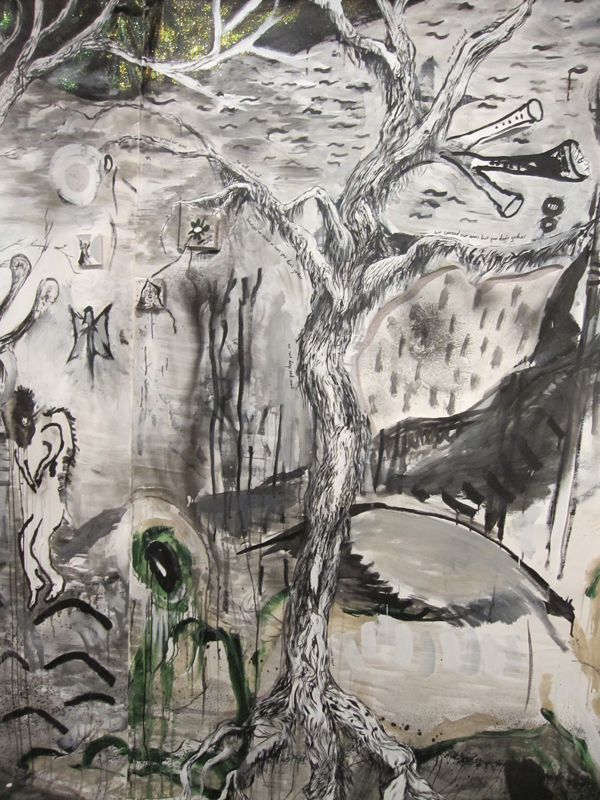 """Big Fleas Have Little Fleas"" Ink, graphite, charcoal, gesso, paint on paper and canvas. Dimensions vary. 2010"