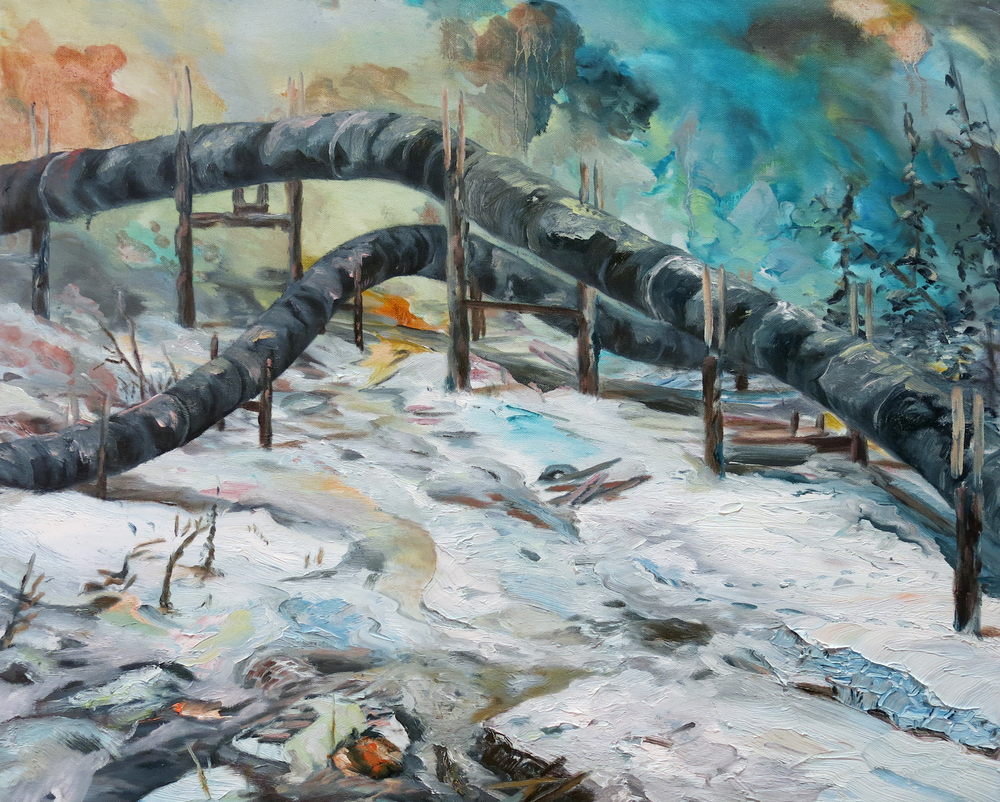 """Pipeline no. 2"" Oil on canvas, 20"" x 24"", 2013"