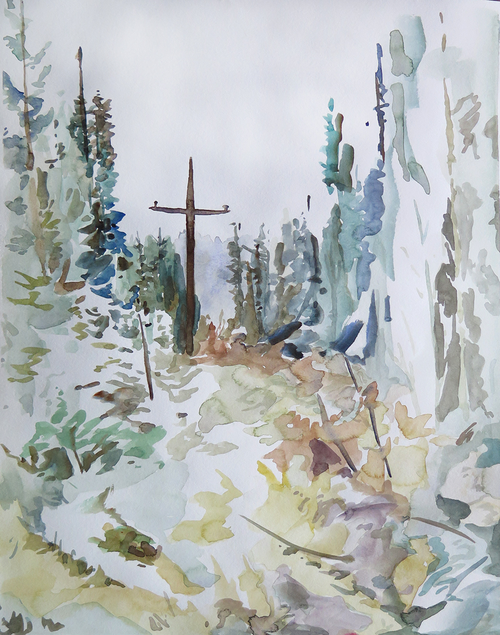 Trail Line, Dale   Watercolour on paper, 10.6 in. x 13.8 in. 2013