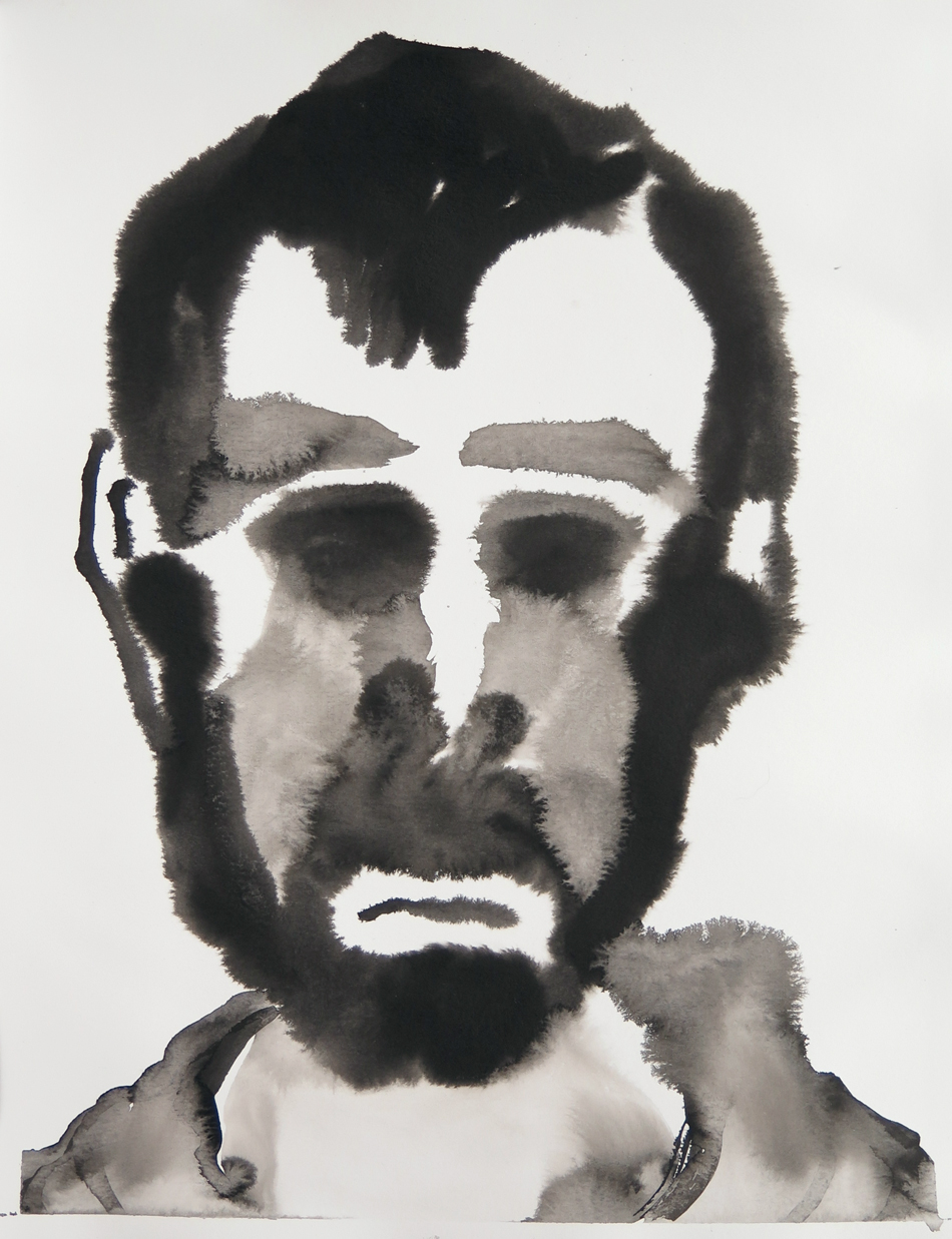 Sad self-portrait 01   Ink on paper, 10.6 in. x 13.8 in. 2013