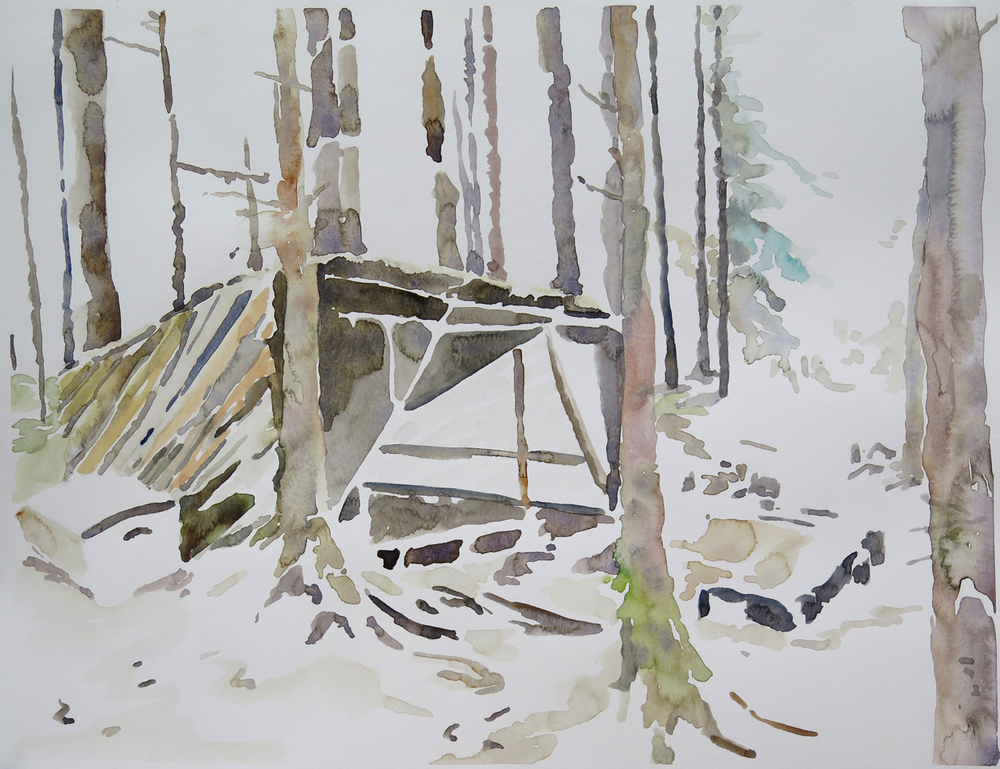 Bivouac, Dale   Watercolour on paper, 10.6 in. x 13.8 in. 2013
