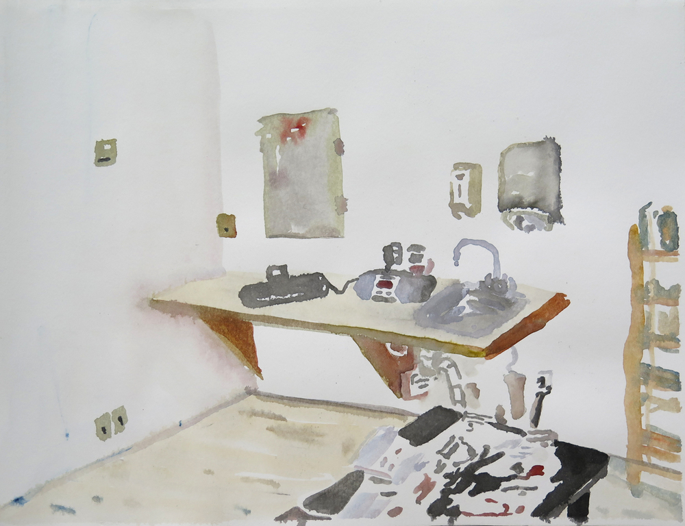 Studio, Dale 02   Watercolour on paper, 10.6 in. x 13.8 in. 2013