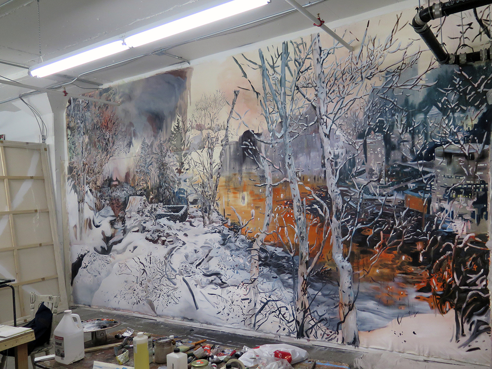 Untitled (studio installation), 2014. Oil on canvas. 12 ft. X 20 ft.