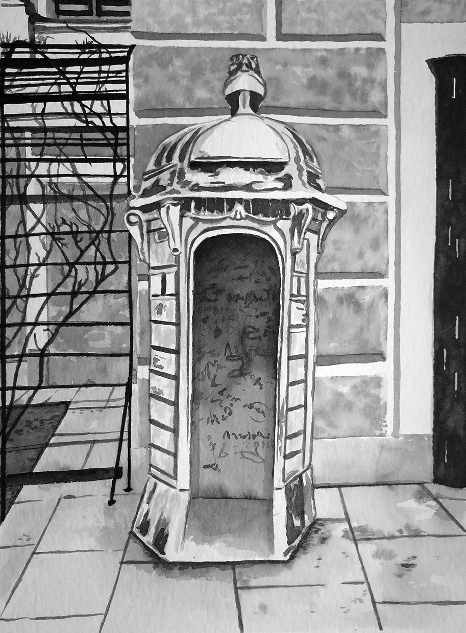 """Guard hut at Schönbrunn"" Ink on paper"