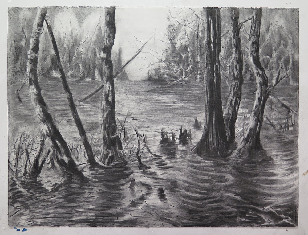 "Untitled, charcoal on paper, 22"" x 30"""
