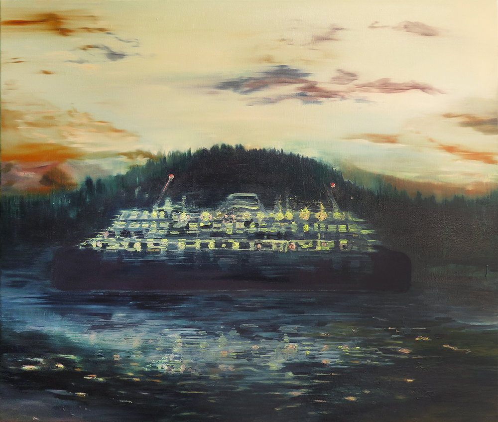 """Night Ferry"" Oil on canvas, 32"" x 36"""