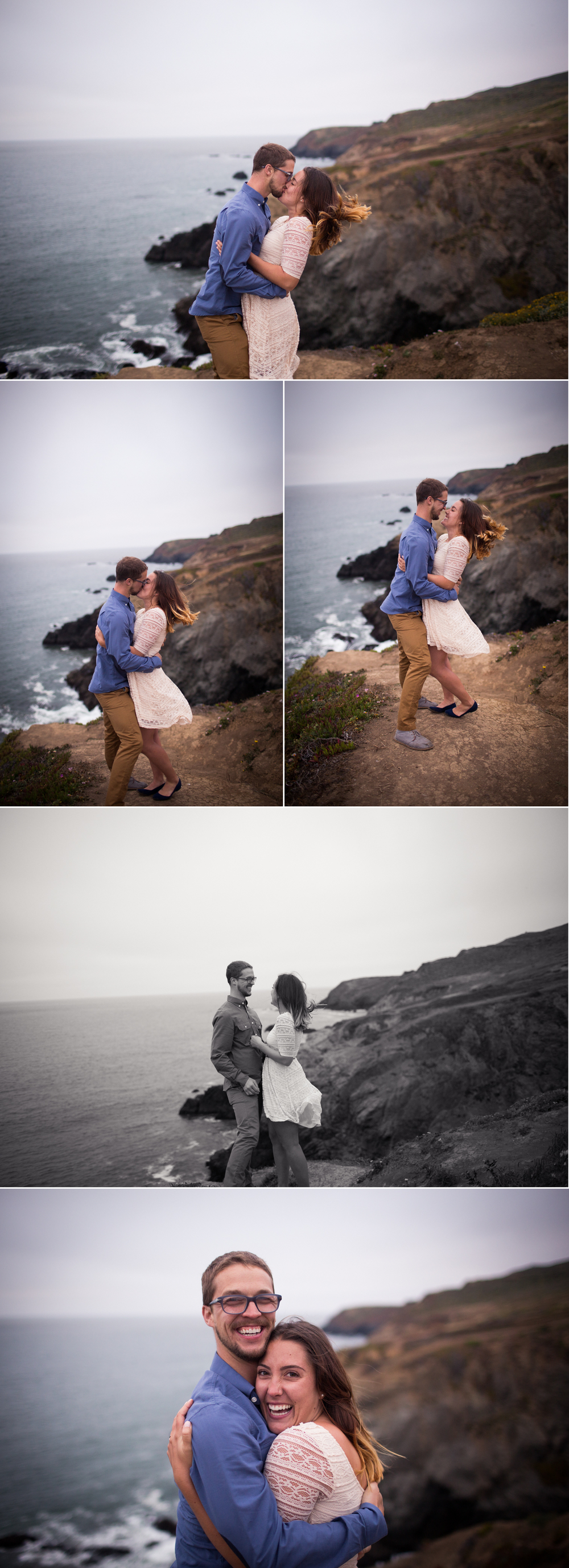 kissing on the cliff, Marin Headlands Engagement