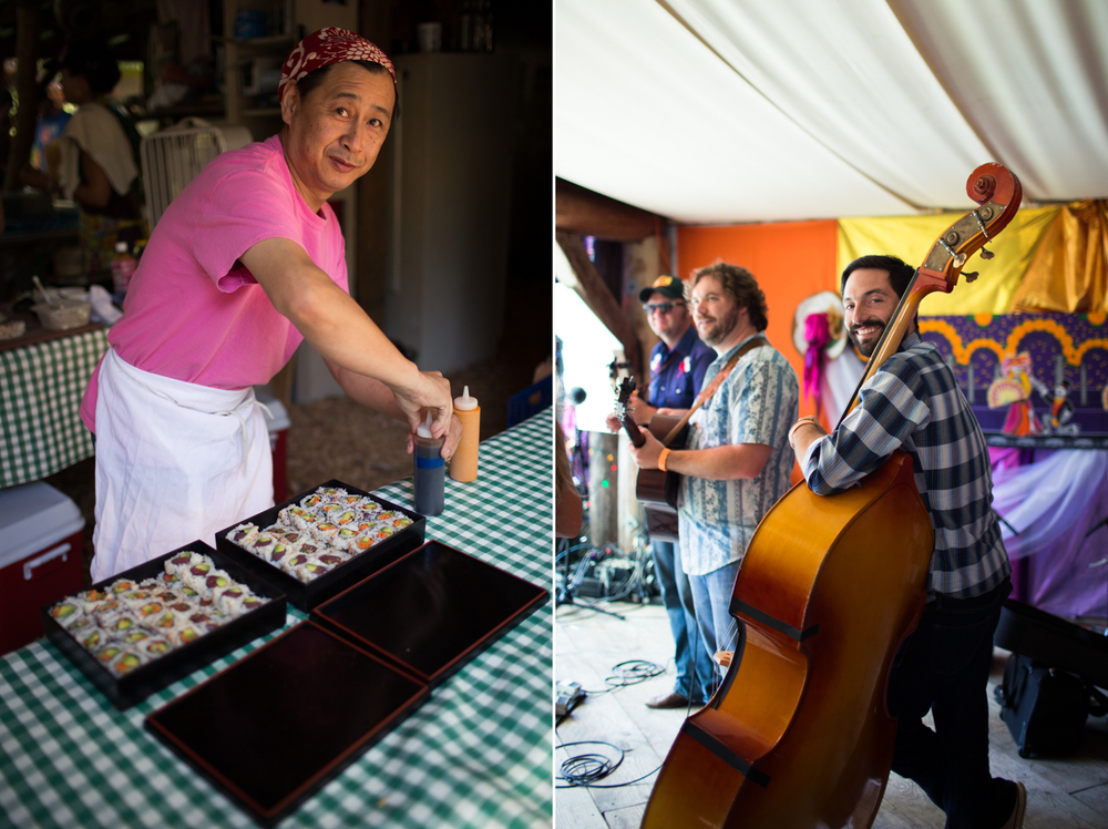sushi chef and stand up bass