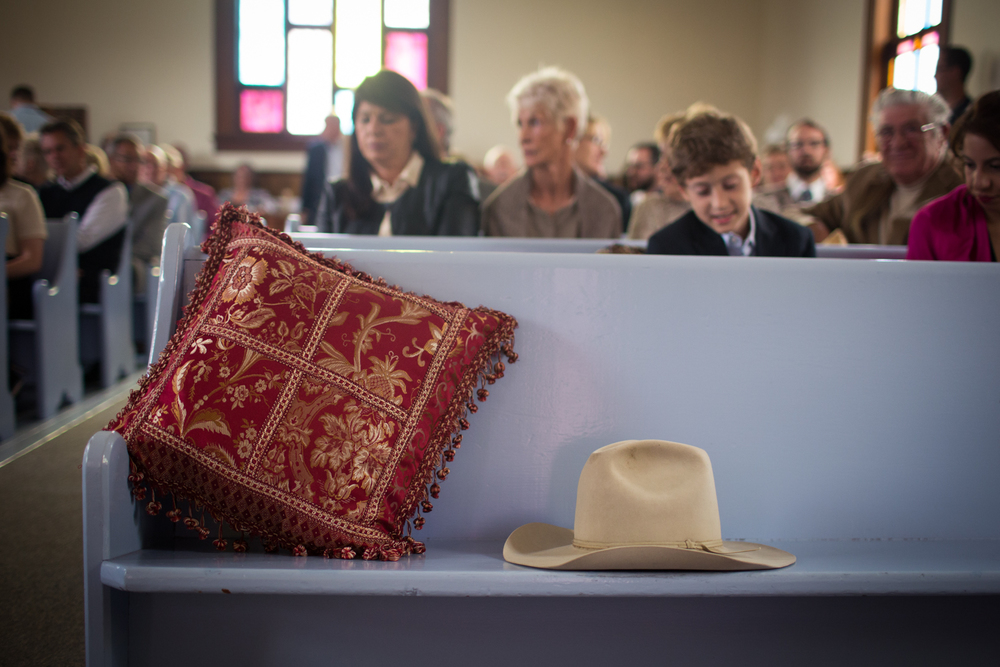 Danny's hat on the pew