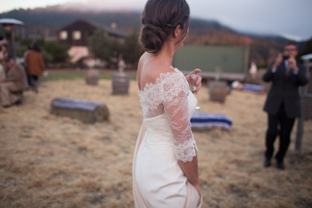 the bride in amy kuschel lace gown