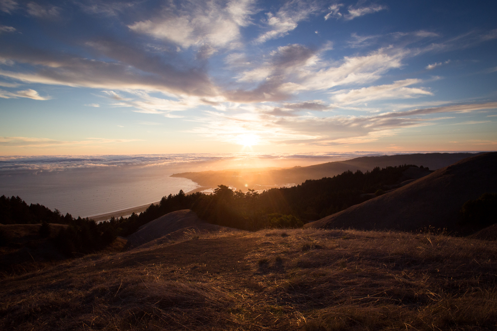 sunset overlooking Bolinas mount tam