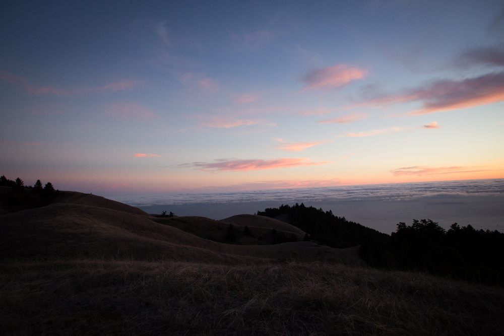 pacific ocean from mount tam at sunset