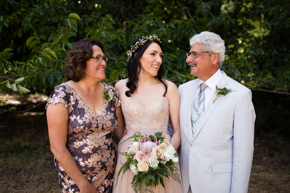 bride with her parents Mendocino County Wedding Photographer