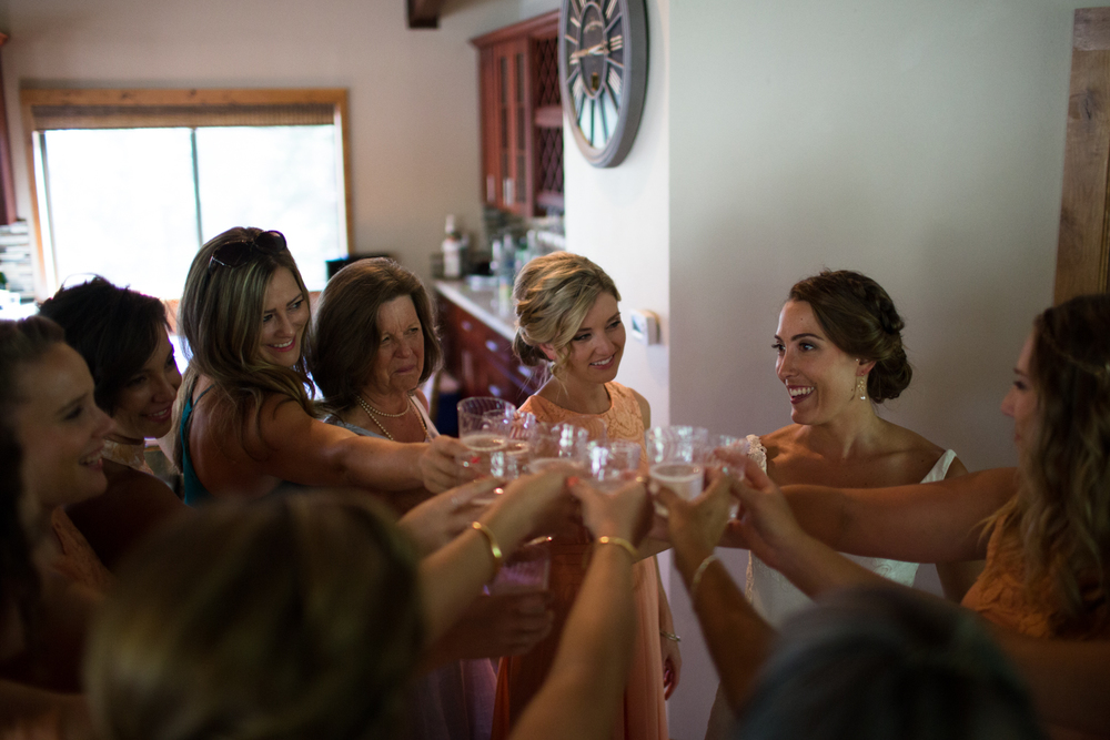 toasting the bride grass valley wedding photography