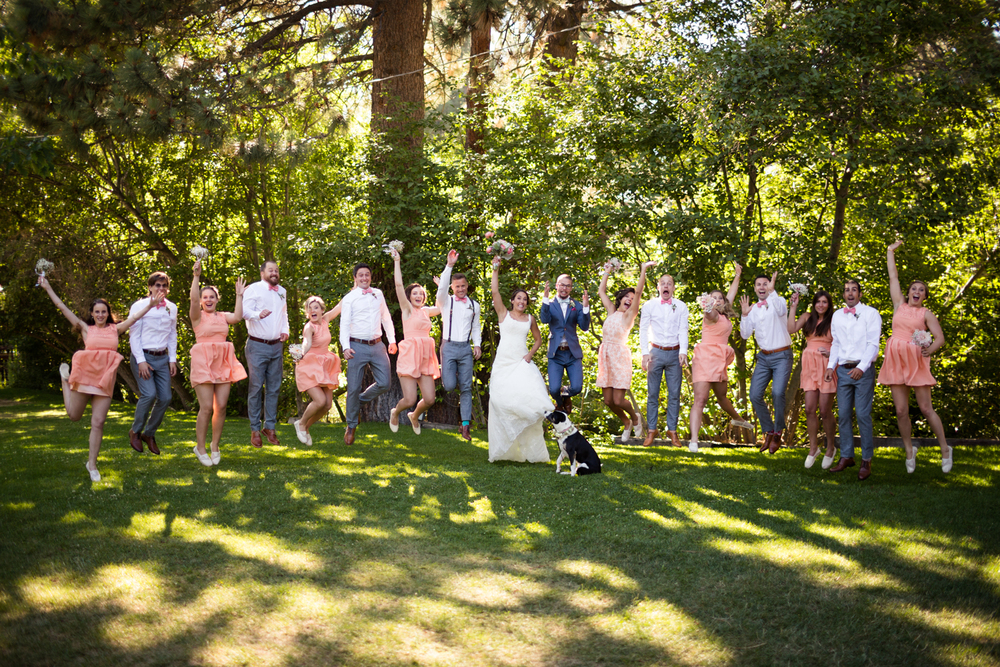 jumping bridal party lake tahoe wedding photographer
