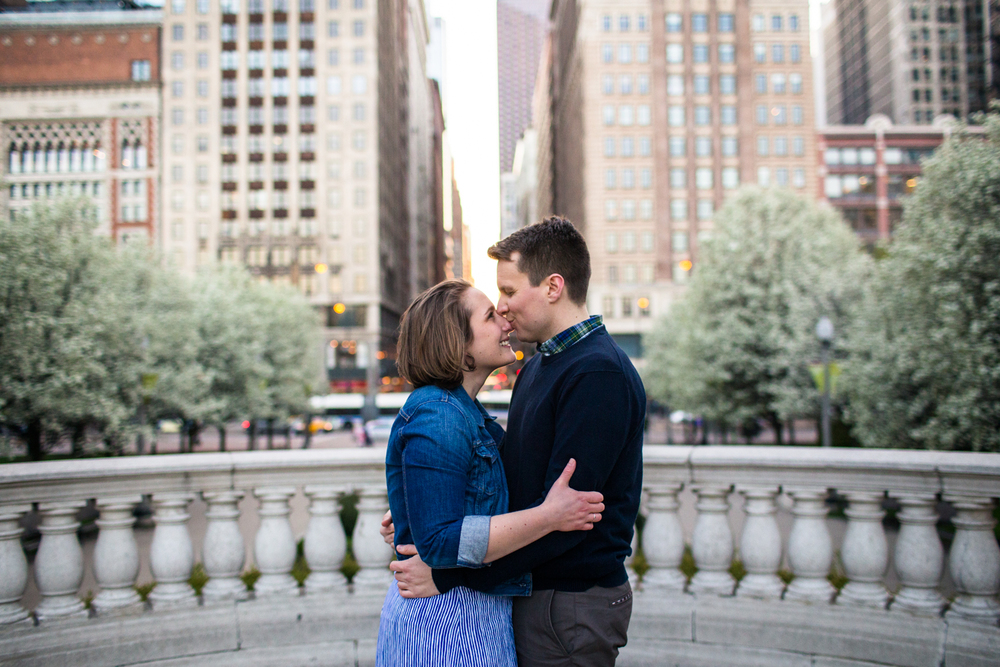 Millenium park chicago engagement natural light