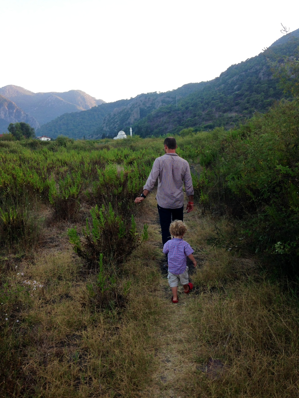 Daddy leading the way in Cirali, Turkey