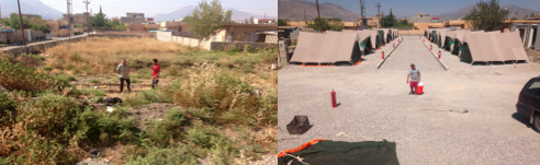 Vacant land at The Refuge transformed into a small refugee camp for 20+ families that fled Mosul.