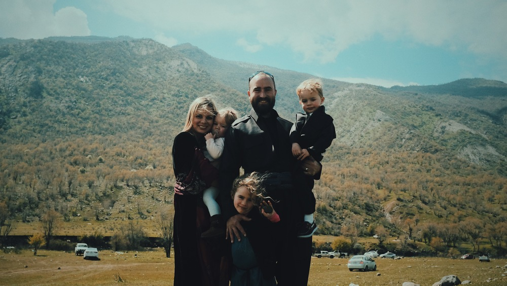 flickerflame Founders, Tim & Sarah Buxton, with their children in Northern Iraq.