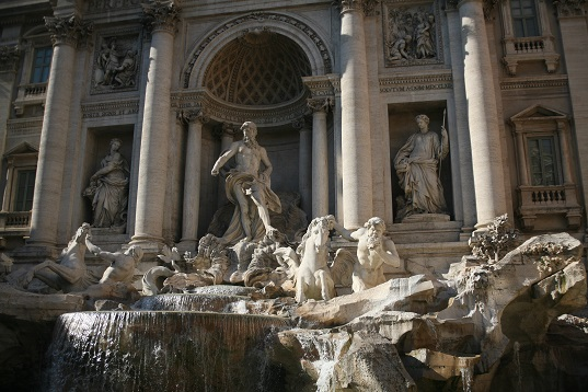 "Trevi Fountain - the end of the line of ""Aqua Virgo"", an aqueduct constructed in 19 BC that brings water from the Salone Springs (approx 20km from Rome) to the fountains in the historic center of Rome. Fountains that are still used today to keep people hydrated!"