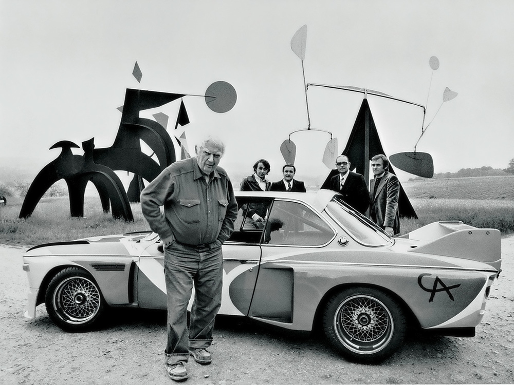 Source: Serious Wheels . Calder himself with his 1975 BMW 3.0 CSL Art Car