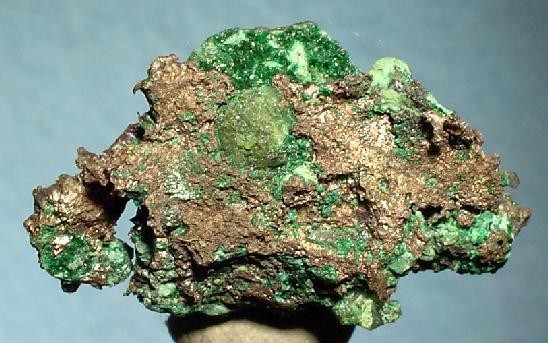 A rarely seen combination of native silver with dioptase (a copper cyclosilicate mineral) from Mindouli, Mindouli District, Pool Department, Republic of Congo (Brazzaville)
