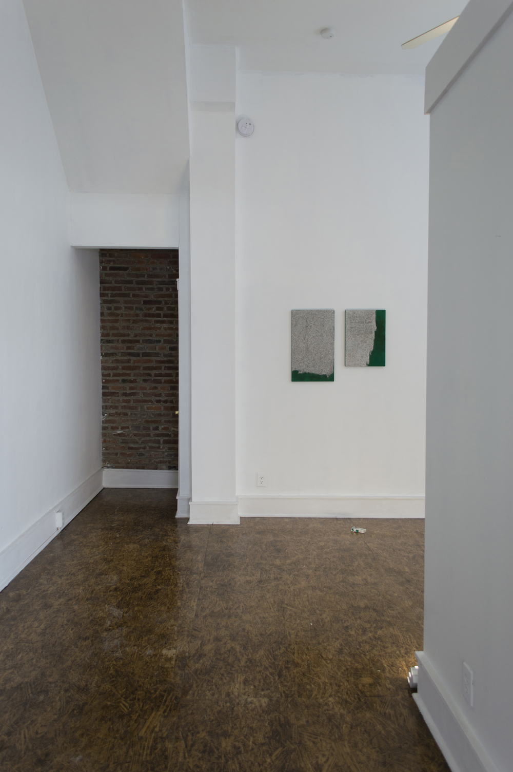 Install View     Untitled (2014)  Acrylic on linen  25h x 15w in     Untitled (2014)  Acrylic and photo-transfer on linen  20h x 14w in
