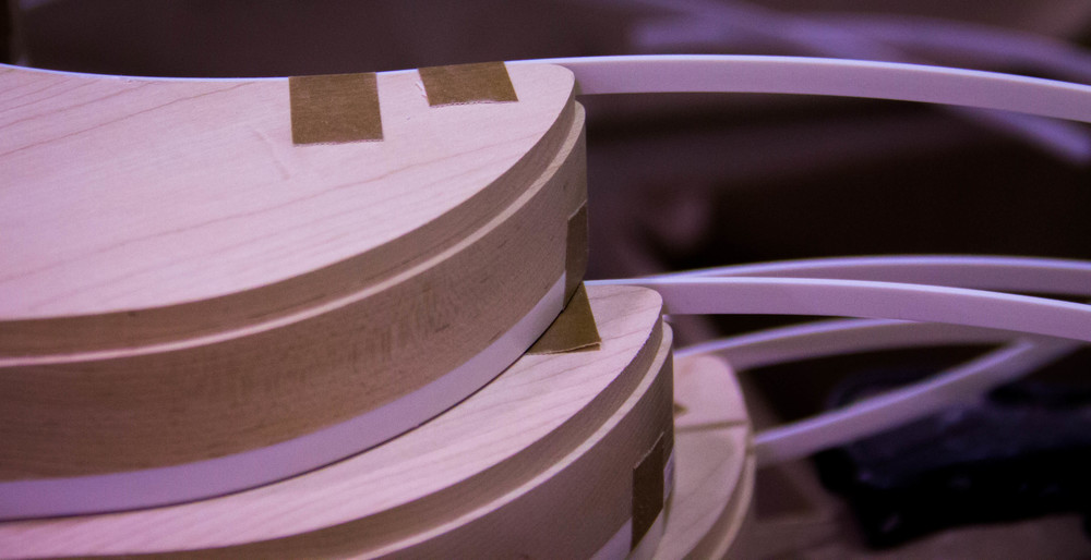 The edges of a 360/12c63 model in the process of being bound.