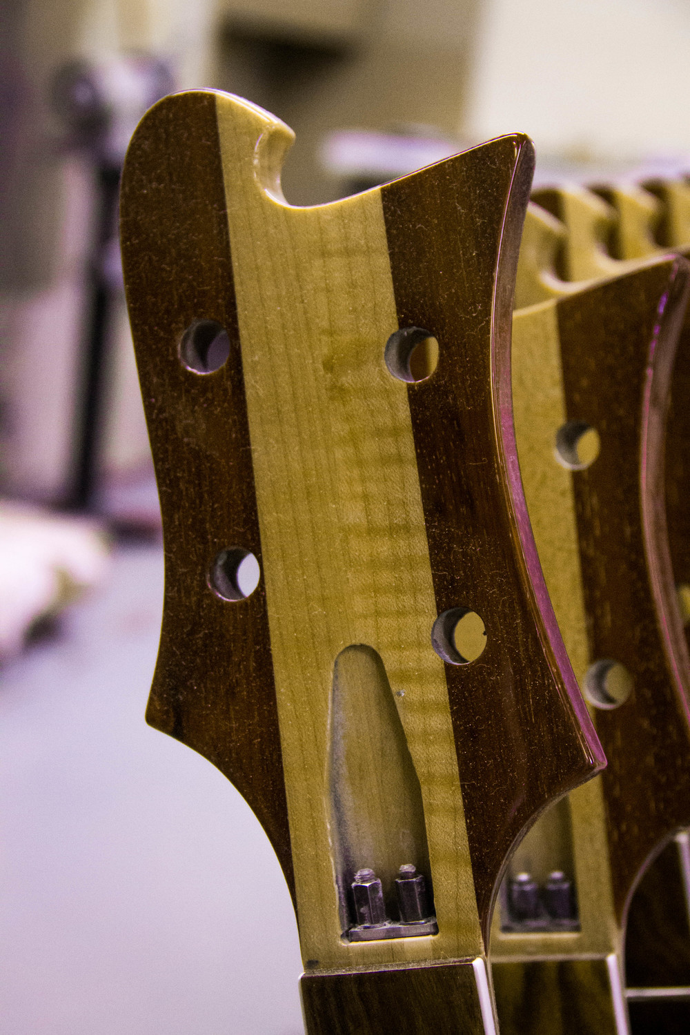 "The headstock of a beautifully-figured 4003, in Rickenbacker's natural ""Mapleglo"" finish. Note the non-standard Vermillion headstock ""wings"", which Hall stated were only used on these particular instruments because the shop ran out of walnut!"