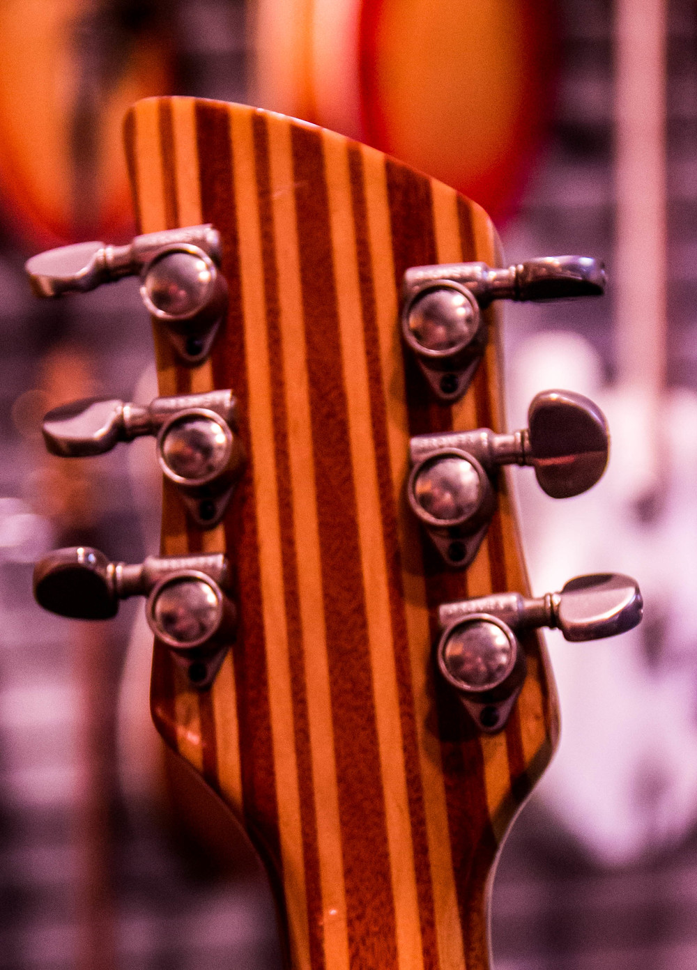 It took many strips of wood (laminates) to create this stunning neck and headstock.