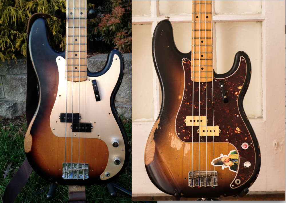 My Road Worn P-Bass on the day I bought it (12/2011) andtoday (1/2015).