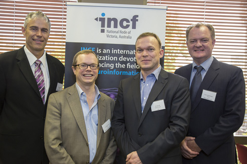 Prof Gary Egan, Director of Monash Biomedical Imaging, Dr Allan Jones, CEO of the Allen Institute for Brain Science, Dr Sean Hill, Executive Director of the INCF, and Prof Paul Bonnington, Director of the Monash eResearch Centre, at the Launch of the Victorian node of the INCF.