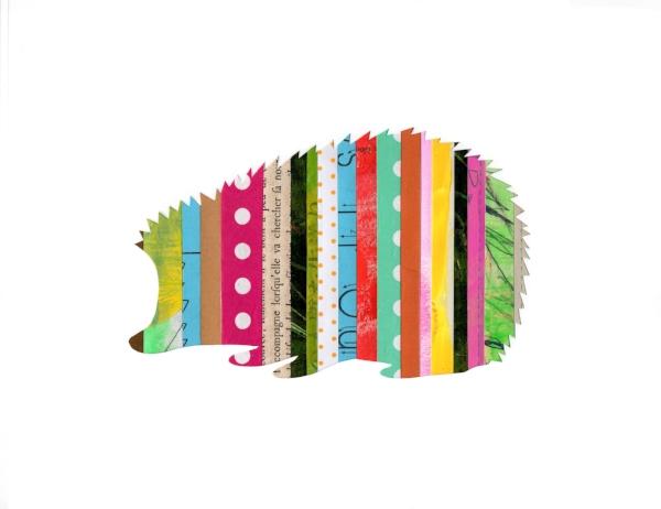 Collage Stripes Woodland Hedghog
