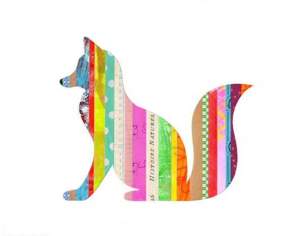 Collage Stripes Woodland Fox
