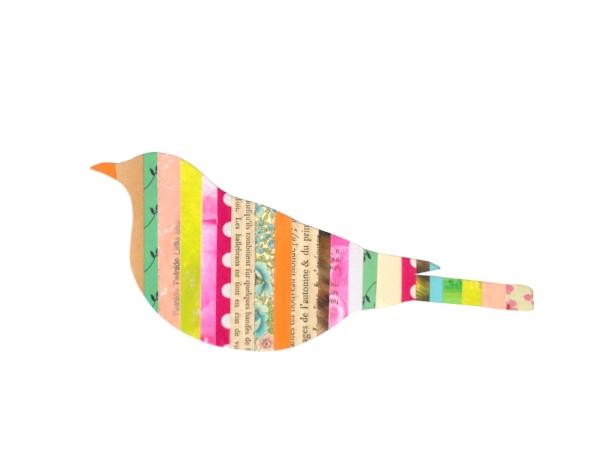 Collage Stripes Woodland Bird