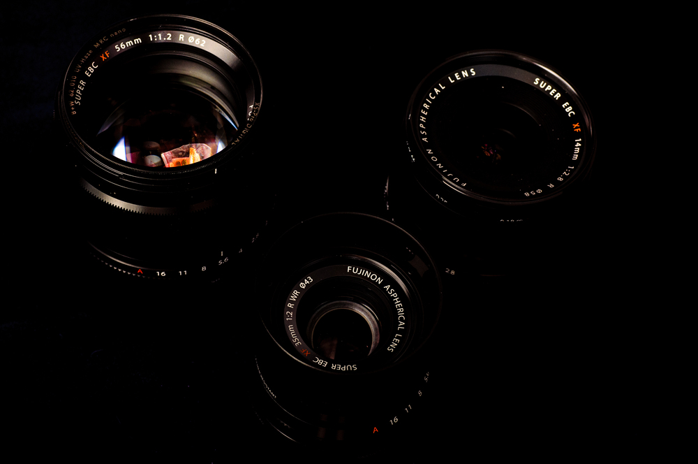 From left to right: XF56mm, XF35mm, and XF14mm