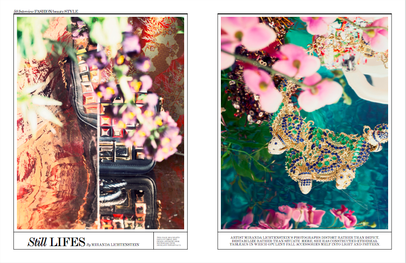 "Floral Sourcing and Selections for Miranda Lichtenstein's Interview Magazine Jewelry ""Still Lifes"""