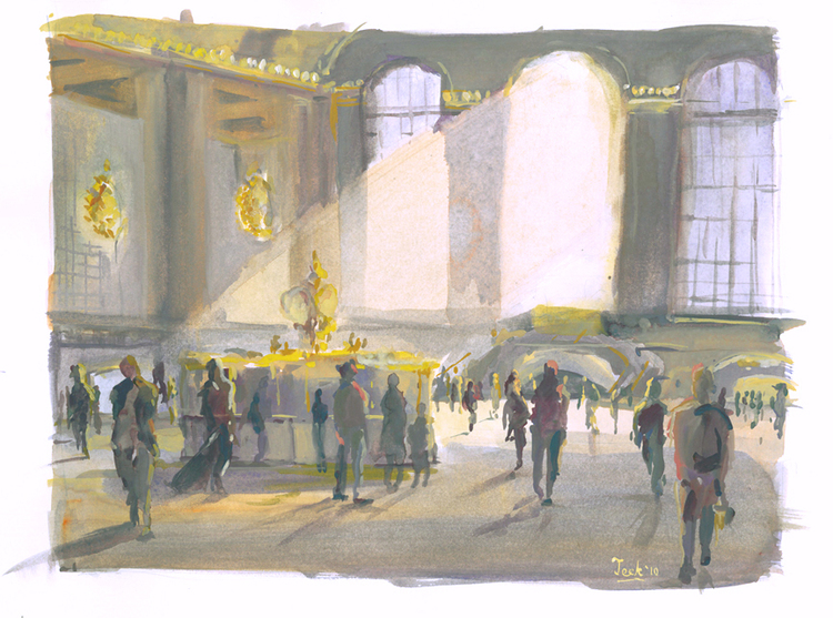"October Light, Grand Central Terminal, Watercolor and Gouache, 10"" x 13"""