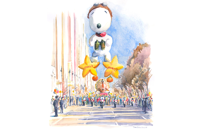 "Snoopie Leads the Thanksgiving Day Parade, Watercolor on Paper, 17"" x 14"""