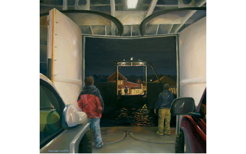 "Friday Night Ferry Arrival, Oil on Canvas 28"" x 24"""