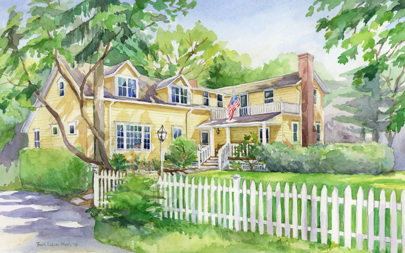 "Old Greenwich Residence, Watercolor on Paper, 11"" x 17"""