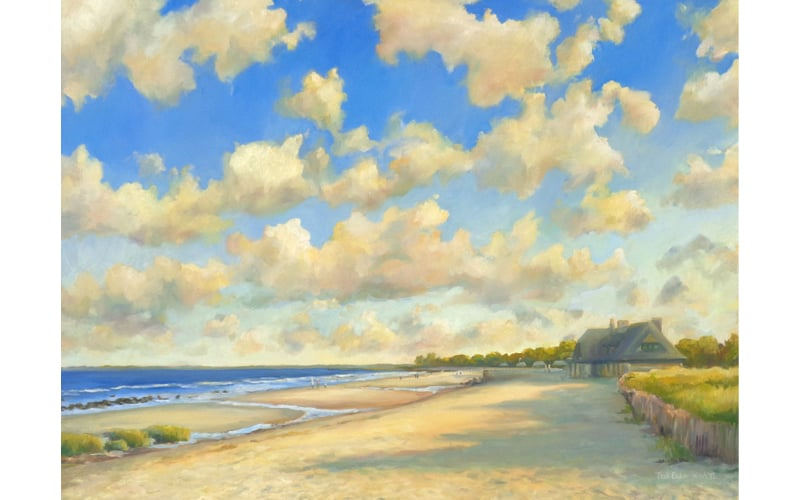 "Blustery Afternoon at Greenwich Point, Oil on Canvas, 36"" x 48"" SOLD"