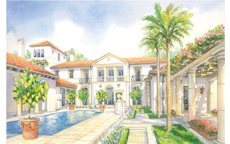 "Rendering of Residence for Ken Tate Architect, Watercolor on Paper, 14"" x 20"""