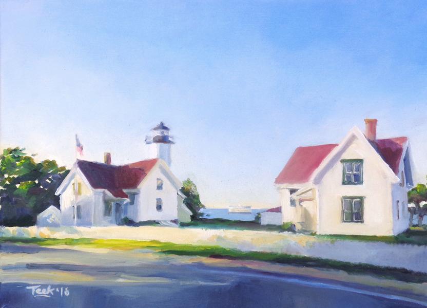 "West Chop Light, Oil on Canvas, 11"" x 14"""