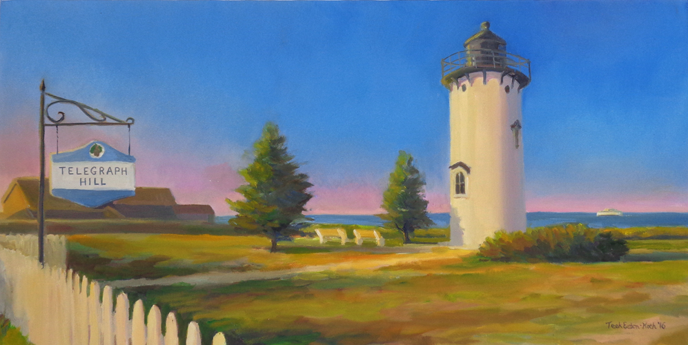 "Telegraph Hill, Oil on Canvas, 12"" x 24"""